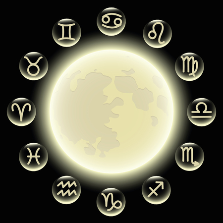 zodiac symbols in circle at full moon vector illustration EPS10