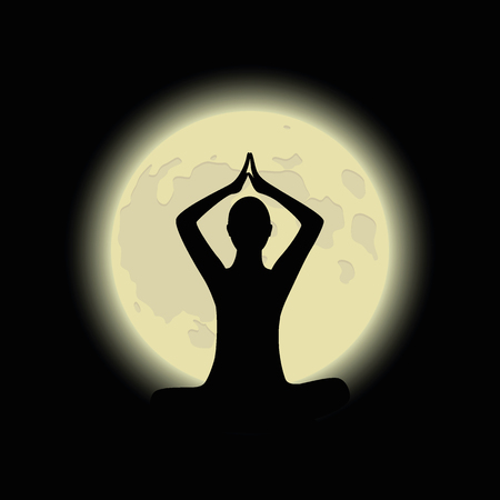 person in meditation pose with shiny moon background vector illustration EPS10