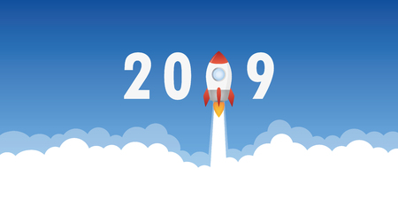 rocket launch to new year 2019 vector illustration EPS10