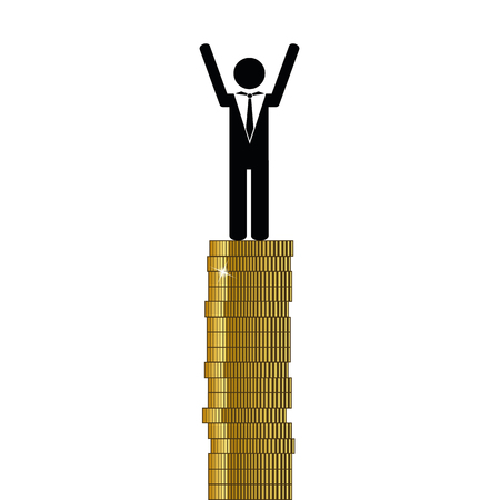 rich man stands on gold coins finance pictogram vector illustration EPS10