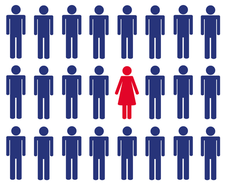 one woman among many men pictogram blue and pink vector illustration