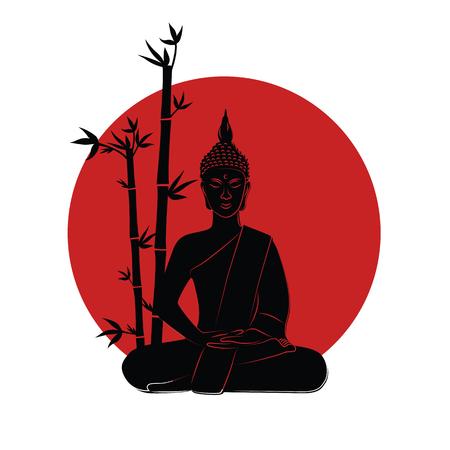 buddha meditation japanese flag vector illustration EPS10