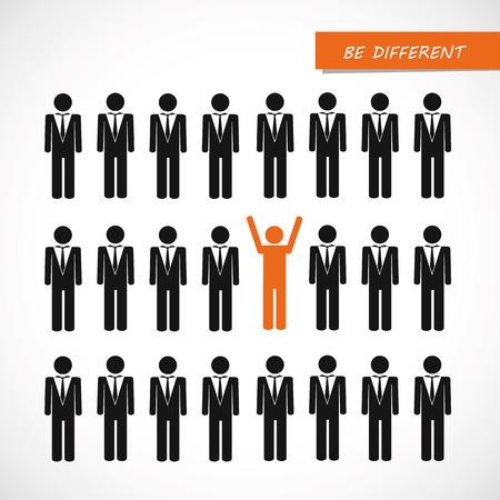 unique orange man in crowd think different concept vector illustration EPS10 Vector Illustration