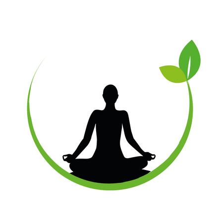 Persona en pose de yoga silueta vector ilustración EPS10