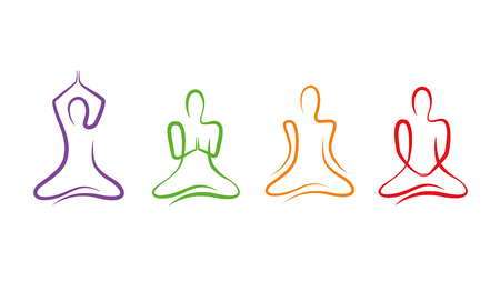 set of colorful yoga poses line drawing vector Illustration EPS10