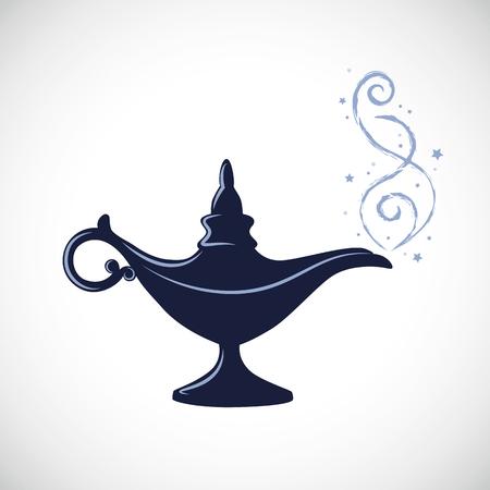 illustrazione vettoriale di lampada miracolosa di Aladino magico blu