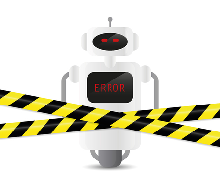defect robot with error code and warning tape vector illustration EPS10