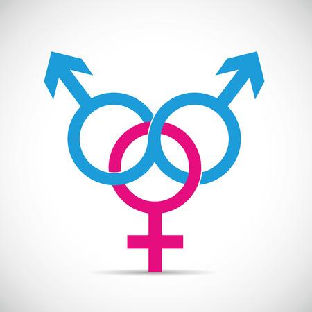 Betrug Partnerbeziehung und Betrug zwei männliche und eine weibliche Symbolvektorillustration EPS10 Vektorgrafik