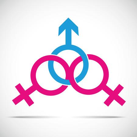 imbrogliare la relazione con il partner e la frode un simbolo maschile e due femminili illustrazione vettoriale EPS10