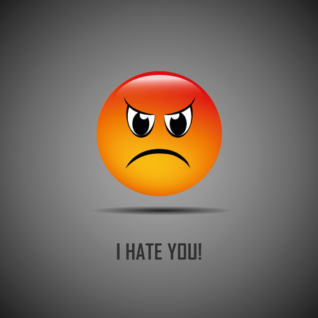 I hate you bad emoji vector illustration EPS10 Vettoriali