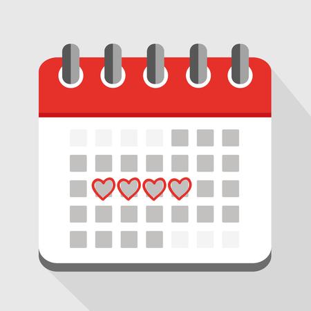 menstruation red calendar with red hearts vector illustration EPS10 Vektorové ilustrace