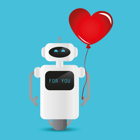 cute robot holding a red heart shaped balloon vector illustration EPS10