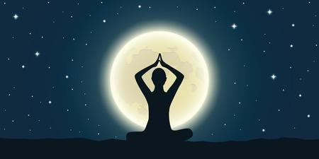 meditazione pacifica alla luna piena e cielo stellato illustrazione vettoriale EPS10 Vettoriali