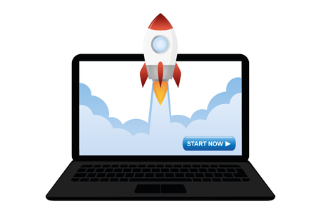 rocket launches from the laptop vector illustration EPS10 Ilustração