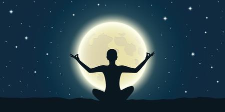 Méditation paisible à la pleine lune et ciel étoilé illustration vecteur EPS10