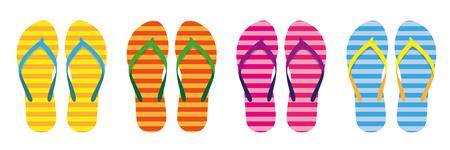 set of colorful striped flip flops summer collection swim wear vector illustration EPS10