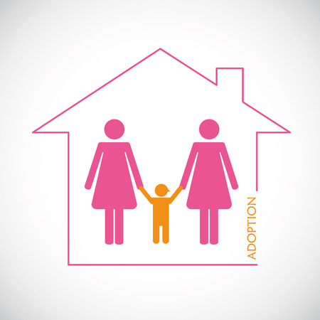 two lesbian woman adopt a boy vector illustration