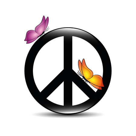 peace symbol with colorful butterflies vector illustration EPS10