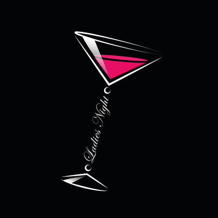 coktails glass ladies night line drawing vector illustration EPS10 Banque d'images - 117790744