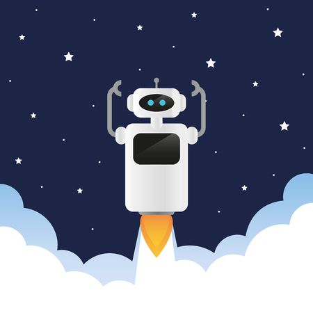 cute robot launches into space with smoke and stars vector illustration EPS10
