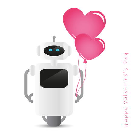 cute robot holding pink heart shaped balloon design for valentines day vector illustration EPS10