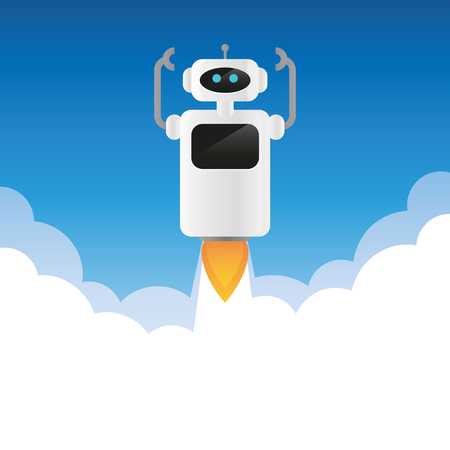 robot launches into space with smoke vector illustration EPS10