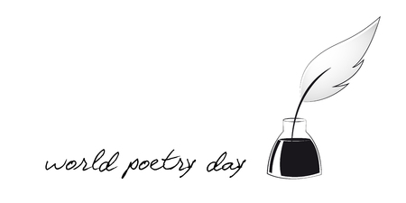 world poetry day sketch of a fountain pen and calligraphy vector illustration EPS10 Vecteurs