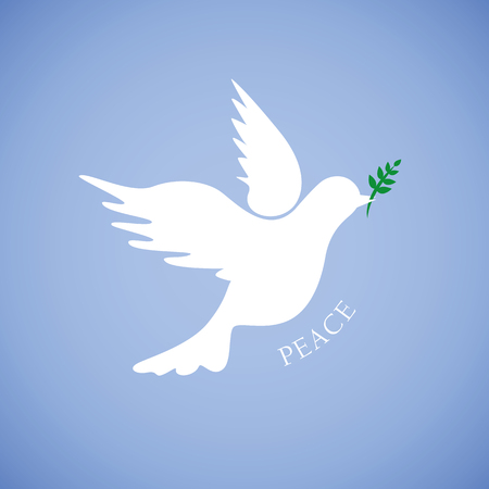 white dove for peace on blue background vector illustration