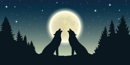 twee wolven huilen bij de volle maan in boslandschap vectorillustratie eps10
