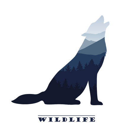 wolf silhouette wildlife forest landscape vector illustration EPS10