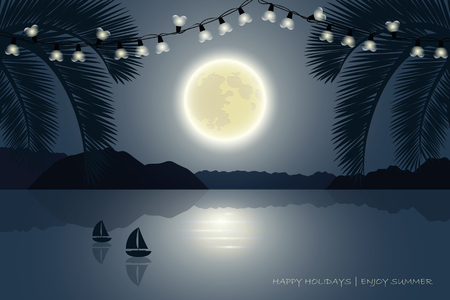 summer holiday paradise palm beach at moonlight with fairy lights and sailboat vector illustration EPS10