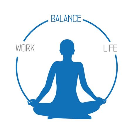 work life balance meditation concept on white background vector illustration EPS10