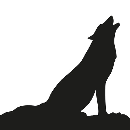 howling wolf silhouette on white background vector illustration EPS10 Illustration