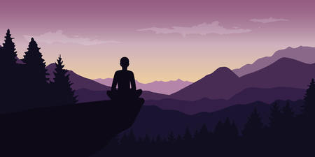 person enjoy the silence at purple mountain nature landscape vector illustration EPS10