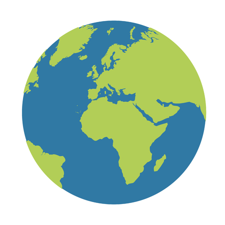 planeta ziemia kula ziemska ikona niebieski i zielony ilustracja wektorowa EPS10