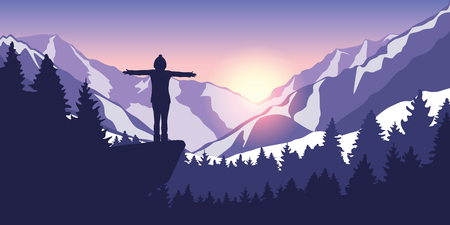 hiking adventure in snowy mountain girl on a cliff in at sunrise vector illustration EPS10