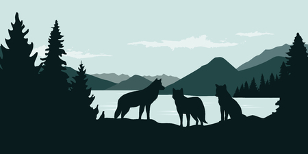 wolf pack by the river green forest wildlife nature landscape vector illustration EPS10 Illustration