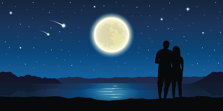 romantic night couple in love at the lake with full moon and falling stars vector illustration EPS10 Vettoriali