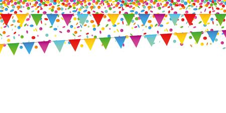 Bunte Konfetti-Regen- und Party-Flaggen auf weißem Hintergrund-Vektor-illustration EPS10