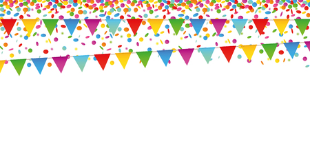 colorful confetti rain and party flags on white background vector illustration EPS10 Ilustrace