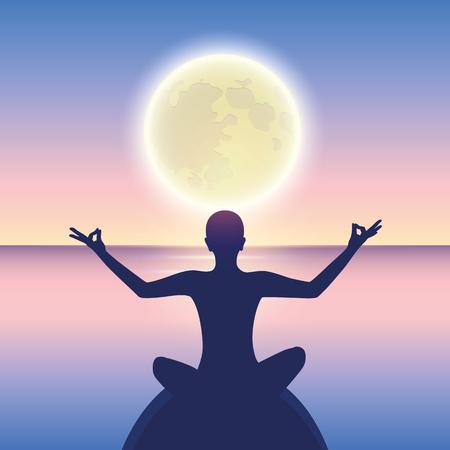 Friedliche Meditation auf ruhiger See bei Mondschein-Vektor-illustration EPS10