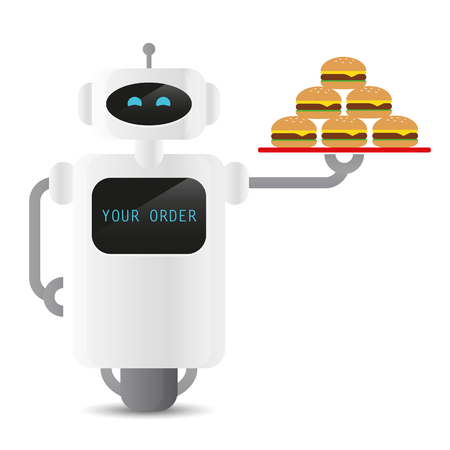 cute working service robot holding a tablet with burger vector illustration EPS10 Иллюстрация