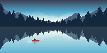 avventura in canoa solitaria con l'illustrazione vettoriale EPS10 del paesaggio della foresta della barca rossa Vettoriali