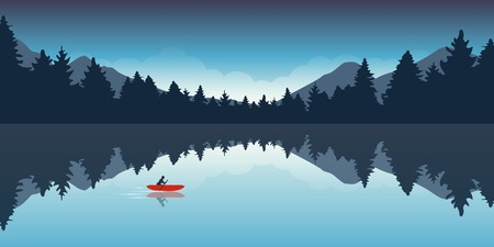 lonely canoeing adventure with red boat forest landscape vector illustration EPS10 Vettoriali