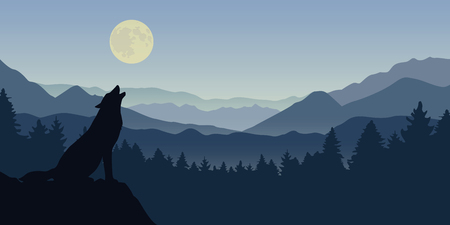 wolf howls at the full moon blue foggy mountain and forest nature landscape vector illustration EPS10