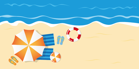 summer holiday on the beach top view with parasol flip flops ball and lifebelt vector illustration EPS10