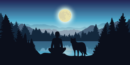 person and wolf are looking at the full moon in nature vector illustration EPS10 Ilustração