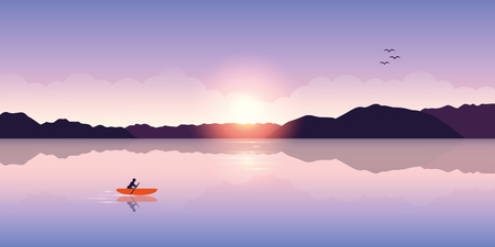 lonely canoeing adventure with orange boat at sunrise on the lake vector illustration EPS10