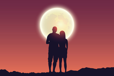 young couple looks to the full moon silhouette vector illustration EPS10