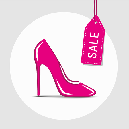 pink womens shoe with sale label vector illustration